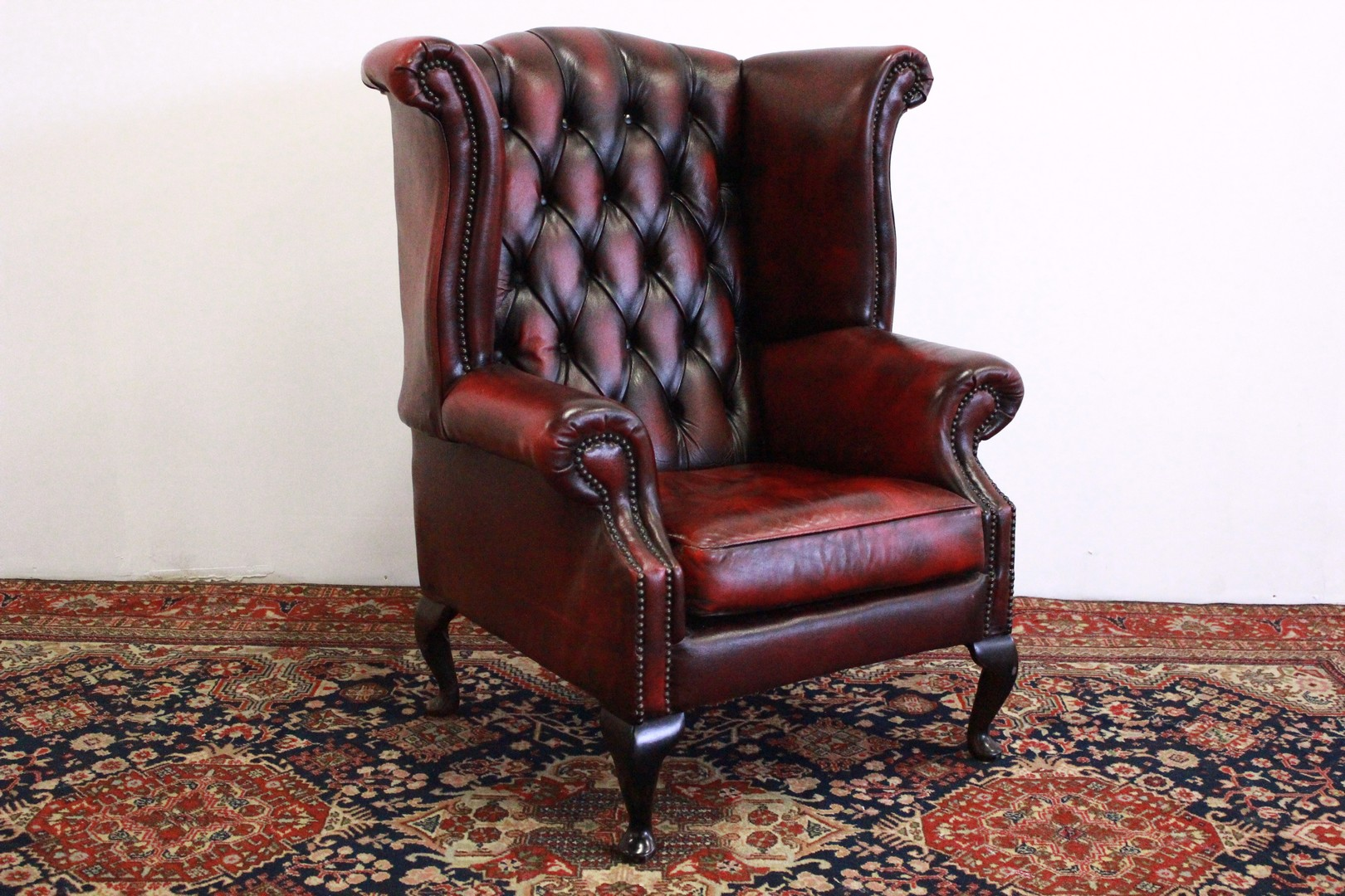 Poltrona Pelle Inglese.Poltrona Chesterfield Queen Anne In Pelle Bordeaux 707