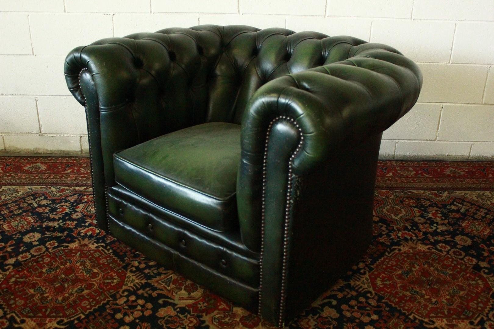 Poltrona Pelle Verde.Dettagli Su Poltrona Club Chesterfield Chester Pelle Verde Inglese Original