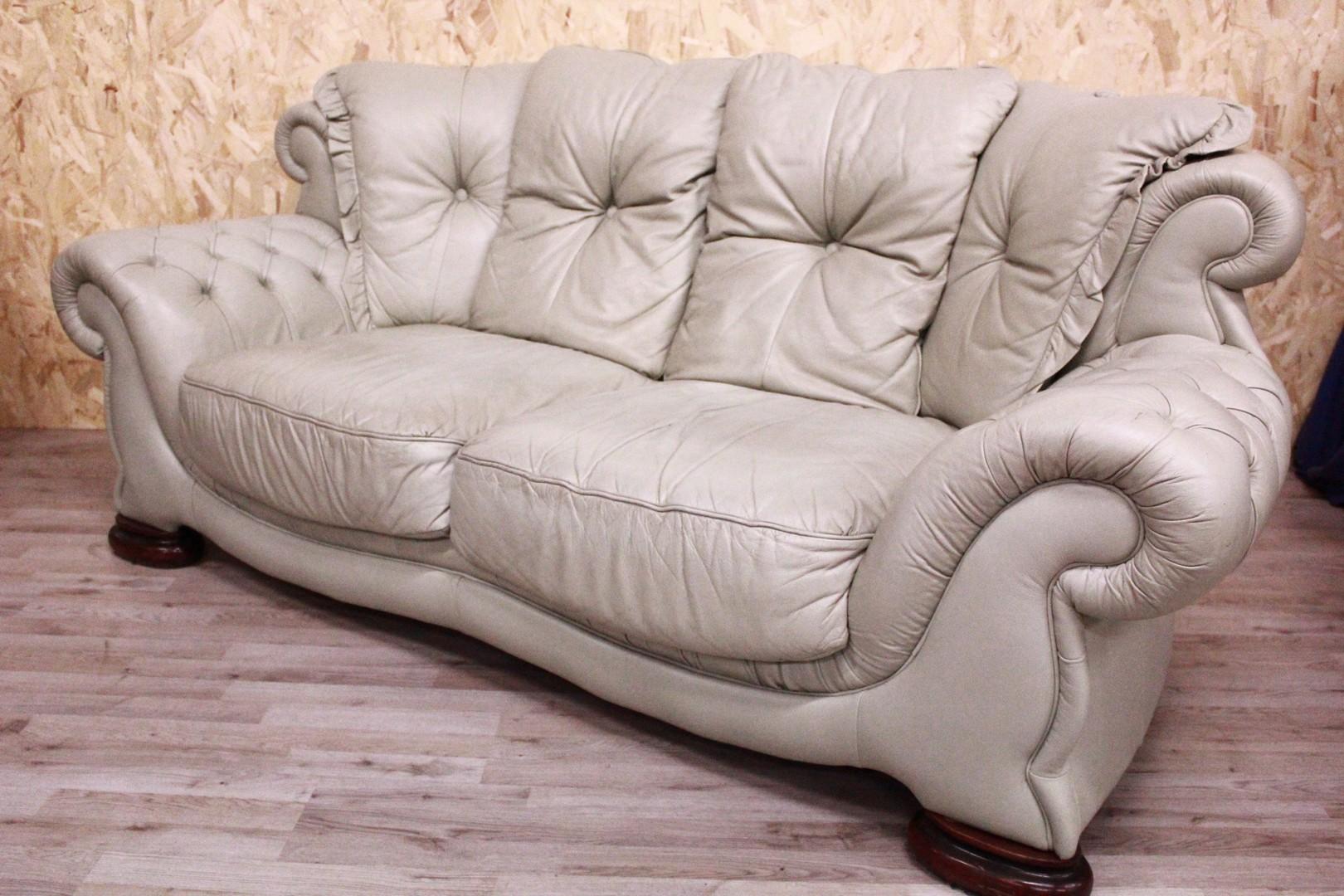 Come Abbellire Un Divano dettagli su divano 3 posti chester chesterfield in pelle verde chiaro  leather sofa english